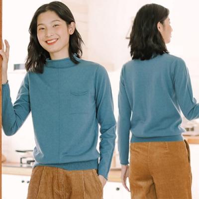 100%綿羊毛半高領毛衣寬鬆外穿內搭衫-設計所在