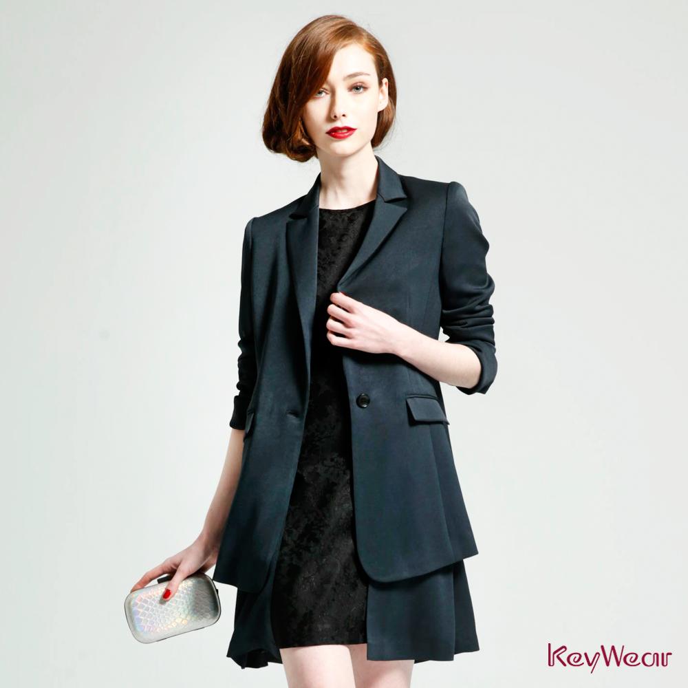 KeyWear奇威名品    精緻蕾絲修身剪裁無袖洋裝-深灰色