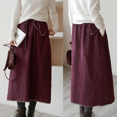 雙層色織石紋褶皺棉麻A字長裙-設計所在