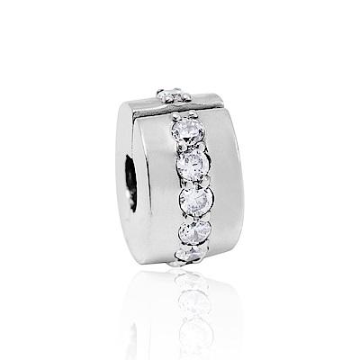 Pandora 潘朵拉 閃耀銀色鑲鋯 夾扣式純銀墜飾 串珠