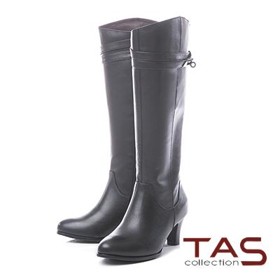 TAS交叉金屬皮帶扣折線素面粗跟長靴–質感黑
