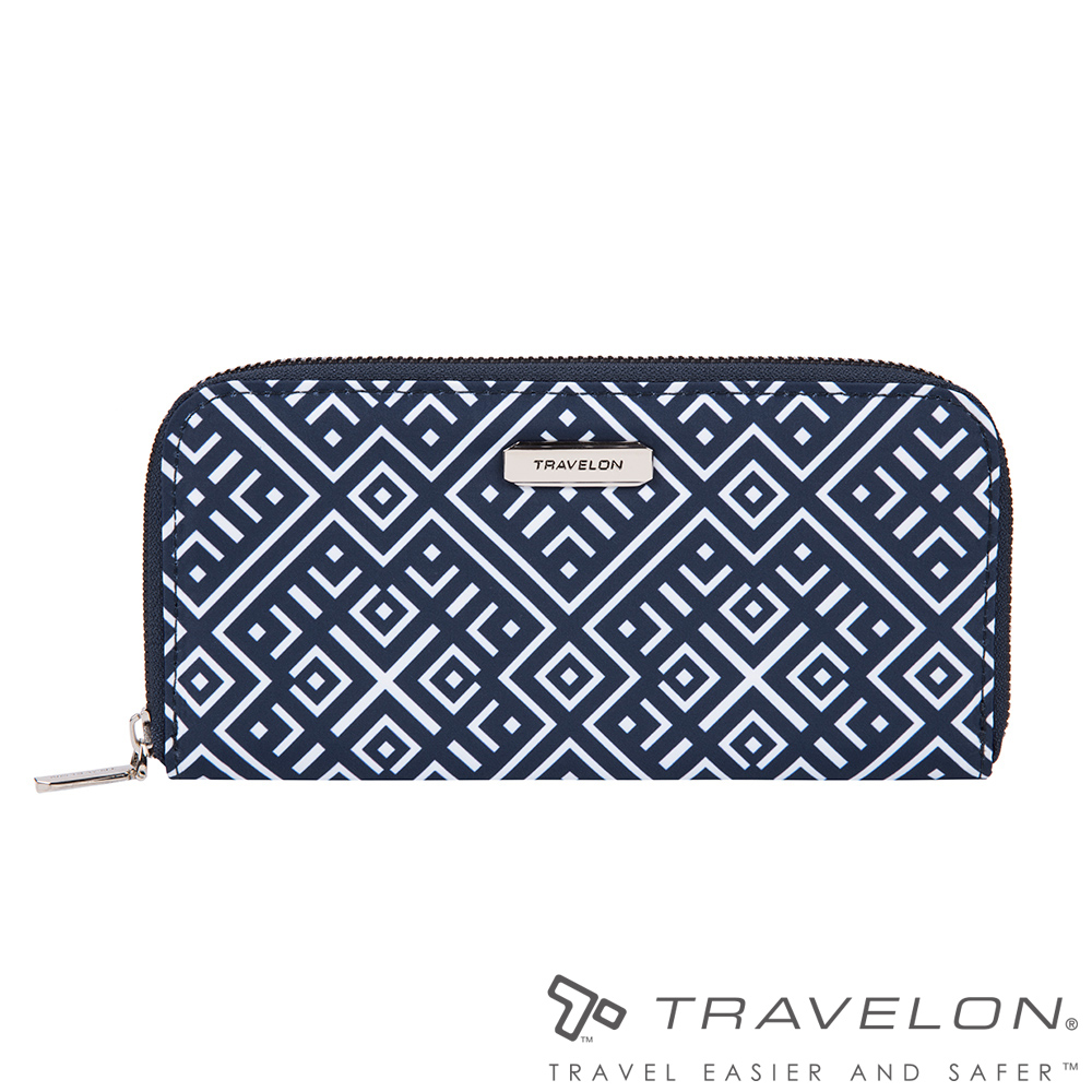 Travelon美國防盜包 RFID BLOCKING單層拉鍊長夾TL1-43398藍/白