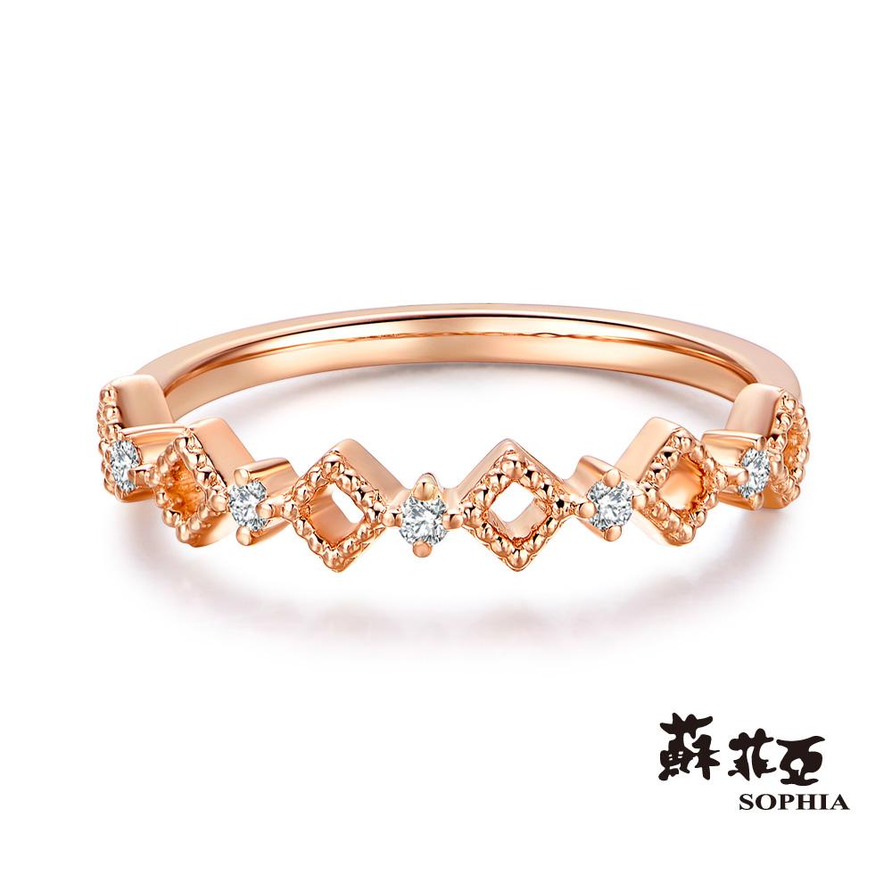 蘇菲亞SOPHIA - 堅定不移玫瑰金鑽石線戒