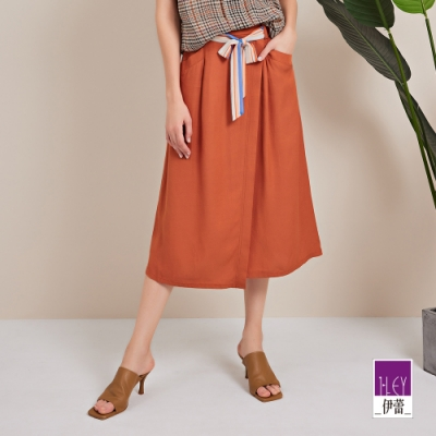 ILEY伊蕾 縲縈混紡不對稱車縫綁帶長裙(桔)1212072211
