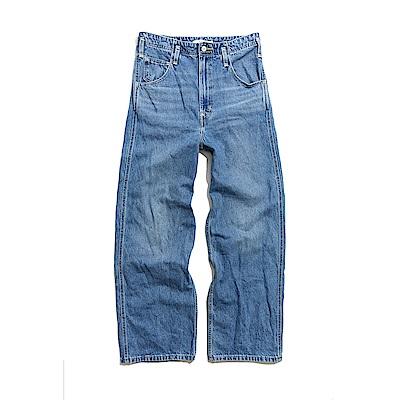 Levis Red 工裝手稿風復刻再造 女款 High Loose 復古超高腰牛仔寬褲 中藍基本款 寒麻纖維