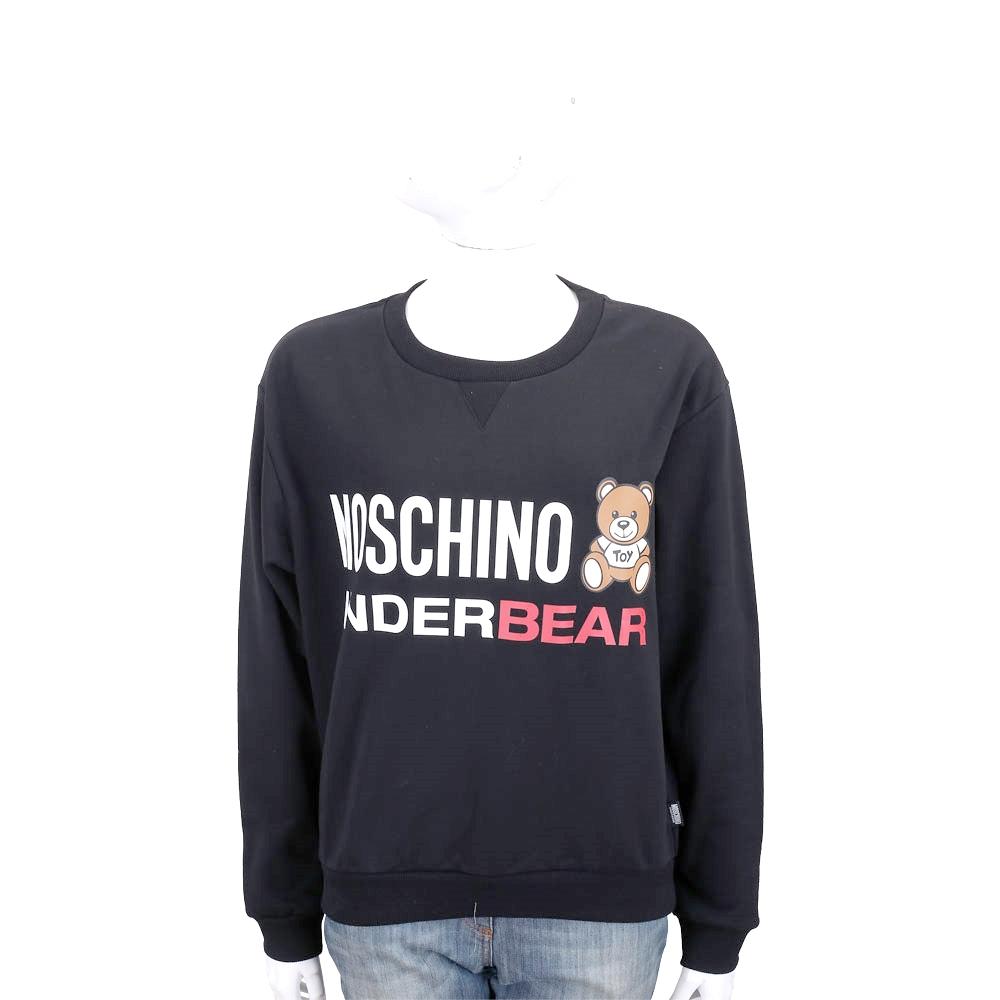 MOSCHINO Underbear 字母泰迪熊寶內刷毛黑色棉質運動休閒套裝