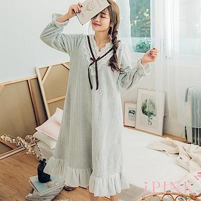i PINK 軟萌妹子 保暖水貂绒長版洋裝居家服睡衣(灰藍)