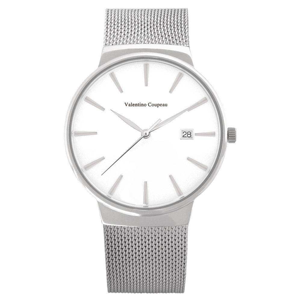 Valentino Coupeau 范倫鐵諾 古柏 時尚極簡設計腕錶【銀色/米蘭/白釘】