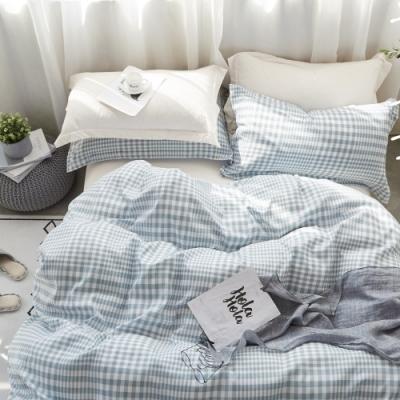 La Lune MIT頂級精梳棉200織紗雙人床包被套四件組 藍色戀人