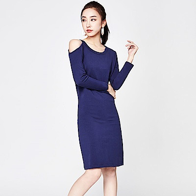SUITANGTANG 露肩棉質洋裝-藍