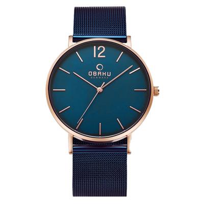 OBAKU 暗黑騎士鋼質手錶-藍x玫瑰金色框/41mm