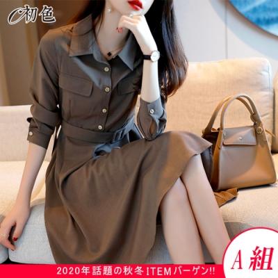 初色  時尚復古收腰連身裙-共3款-((M-2XL可選)