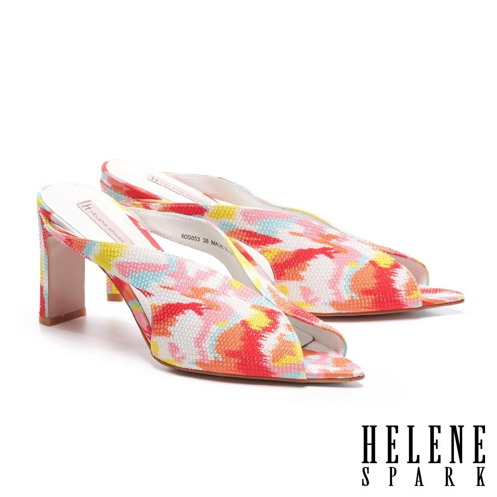 拖鞋 HELENE SPARK 繽紛夏日晶鑽花布美型高跟拖鞋-桔