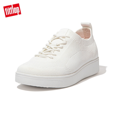 FitFlop RALLY TONAL KNIT SNEAKERS-繫帶針織休閒鞋 女(都會白)
