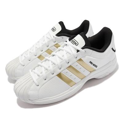 adidas 籃球鞋 Pro Model 2G Low 運動 男鞋 愛迪達 緩震 支撐 皮革 包覆 橡膠鞋頭 白 金 H68060