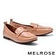 低跟鞋 MELROSE 經典簡約牛皮方頭樂福低跟鞋-棕 product thumbnail 1