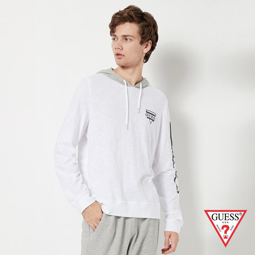 GUESS-男裝-撞色拼接長袖帽T-白 原價2490