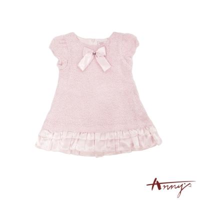 Annys氣質可愛蝴蝶結小香風公主袖小百褶洋裝*2217粉紅