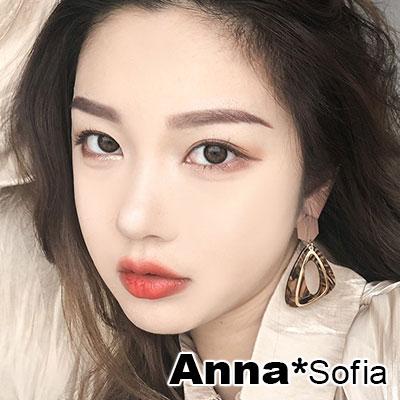 【3件5折】AnnaSofia 流理紋不規則三角 大型耳針耳環(咖金系)