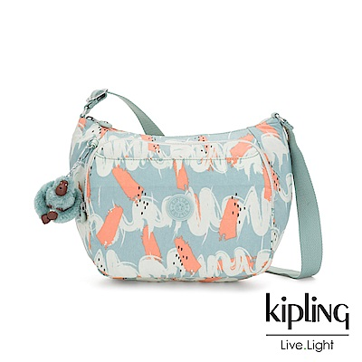 Kipling 湖水綠印象派塗鴉雙層側背包-CAI