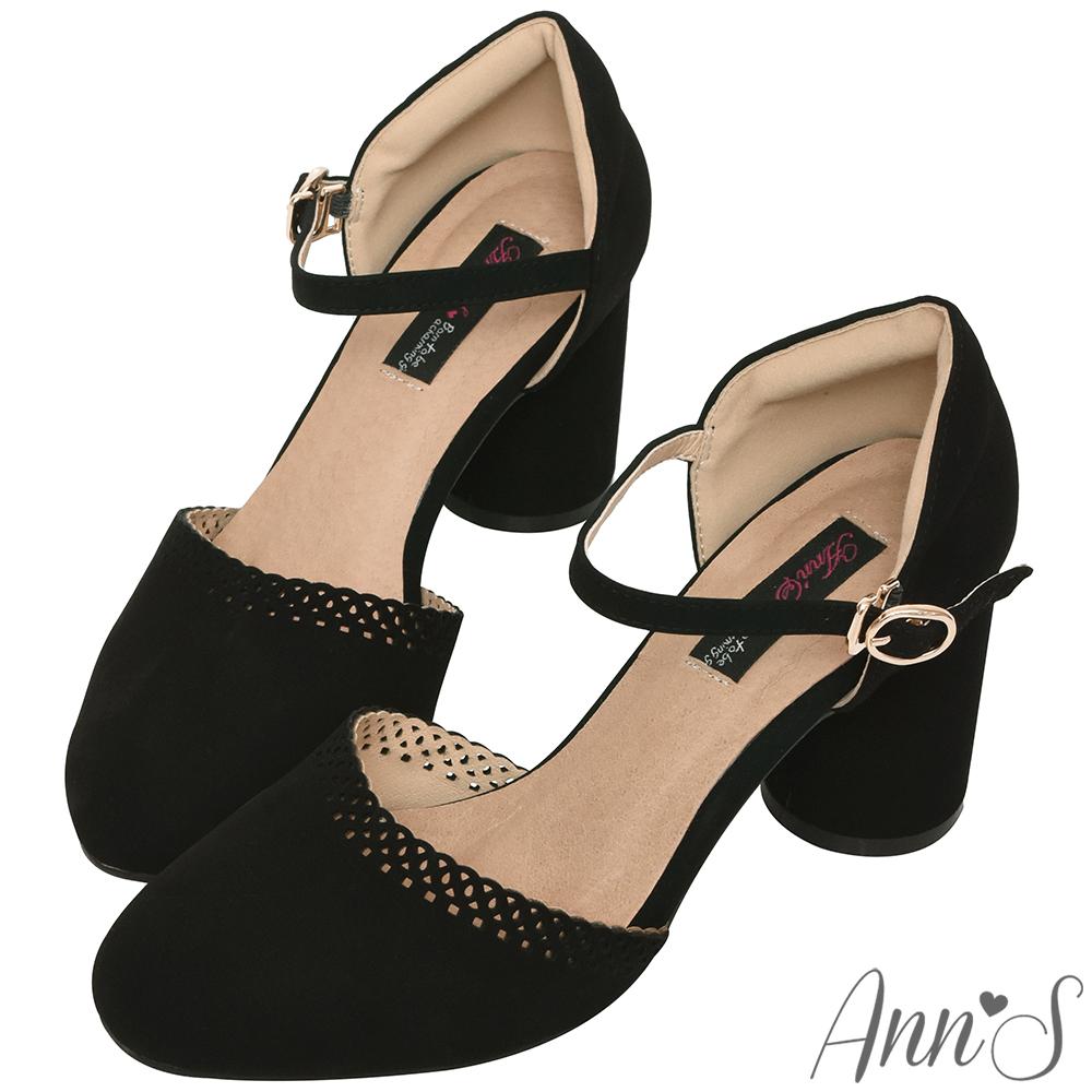 Ann'S邂逅在花園-氣質雕花滾邊瑪麗珍高跟鞋-黑(版型偏小)