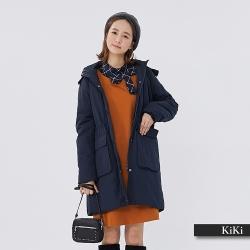 【KiKi】經典百搭連帽鋪棉-大衣外套(二色)