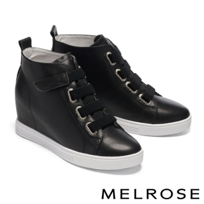 休閒鞋 MELROSE 時尚純色鑽飾全真皮內增高休閒鞋-黑