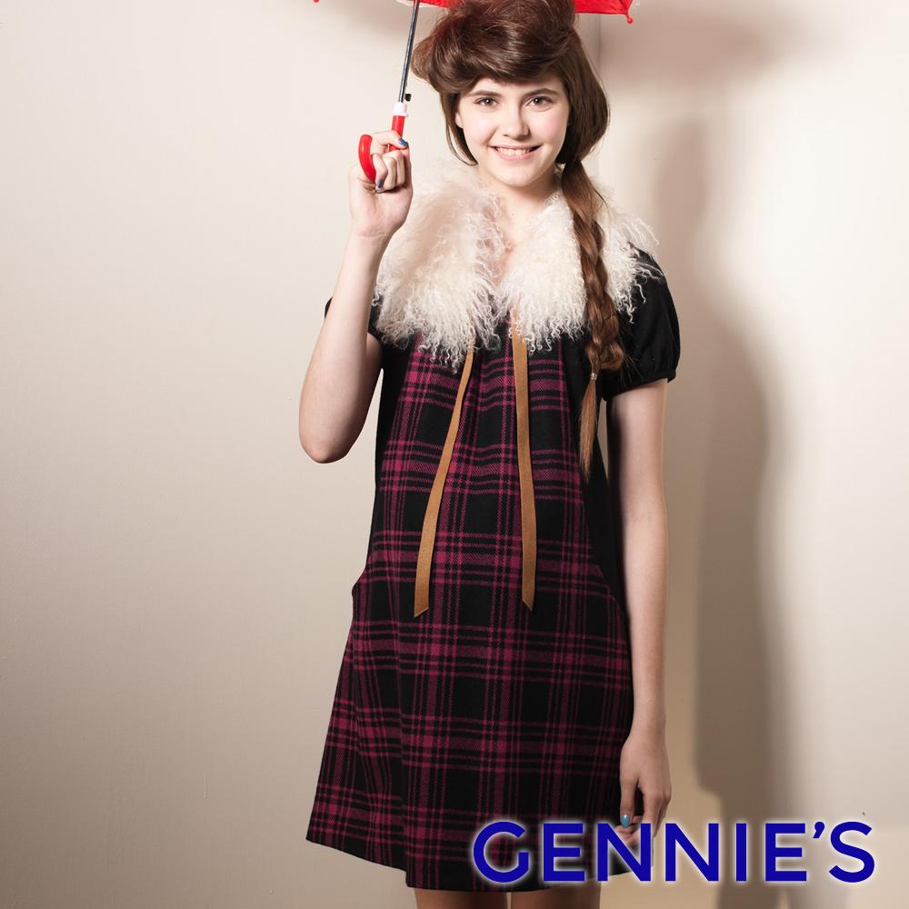 【Gennie's奇妮】氣質藍格紋拼接羊毛秋冬孕婦洋裝-藍(G1407)