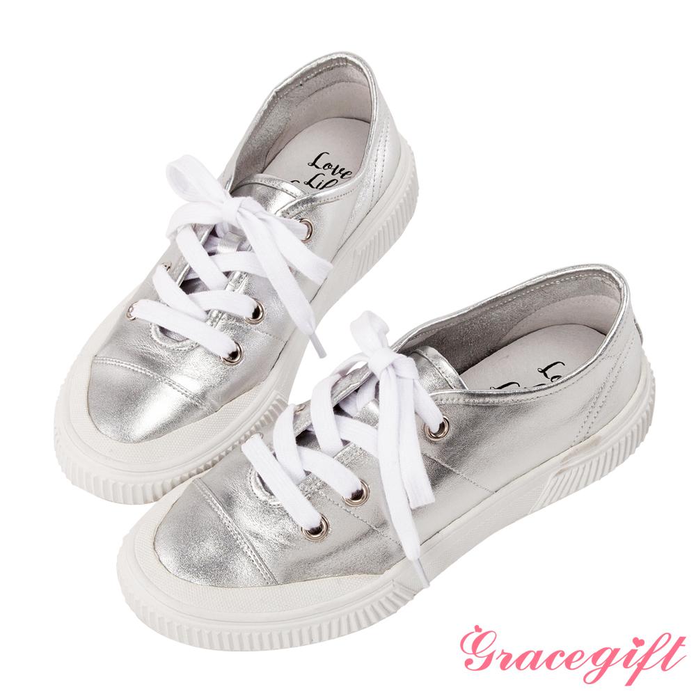 Grace gift X Kerina -聯名真皮2WAY綁帶休閒鞋 銀
