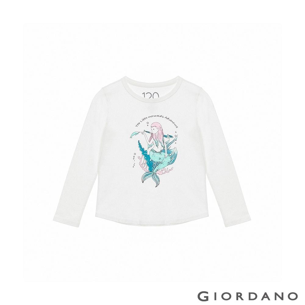 GIORDANO 童裝美好時光純棉T恤 - 01 皎白