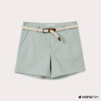 Hang Ten-女裝-REGULAR FIT附腰帶短褲-淺綠色