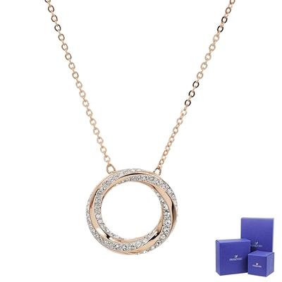 SWAROVSKI 施華洛世奇 Hilt璀璨螺旋形水晶圓環玫瑰金色項鍊