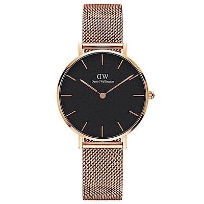 DW手錶 官方旗艦店 32mm玫瑰金框 Classic Petite 香檳金米蘭金屬編織