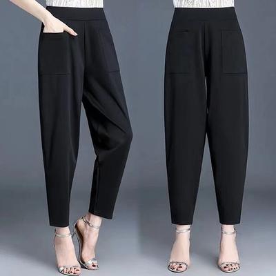 [韓國K.W.] 輕鬆大口袋涼感休閒褲-黑