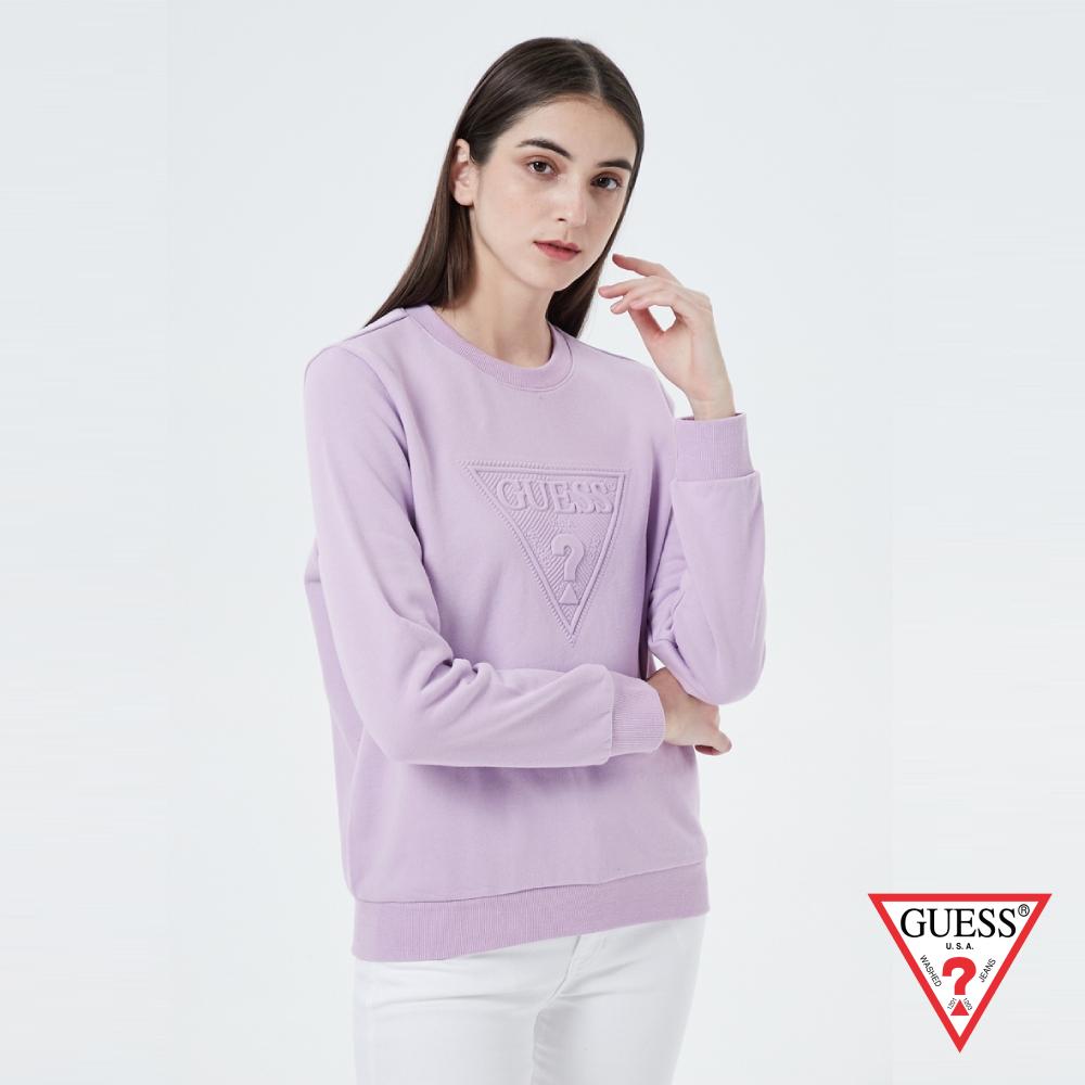 GUESS-女裝-經典LOGO壓印長袖T恤-紫 原價2990