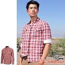 Wildland 荒野 0A72202-07酒紅色 男彈性針織格紋保暖襯衫