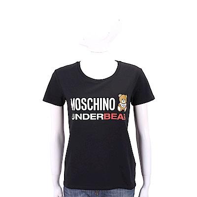 MOSCHINO Underbear 字母泰迪熊寶寶黑色棉質T恤