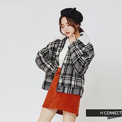 H:CONNECT 韓國品牌 女裝-毛呢格紋翻領外套-黑