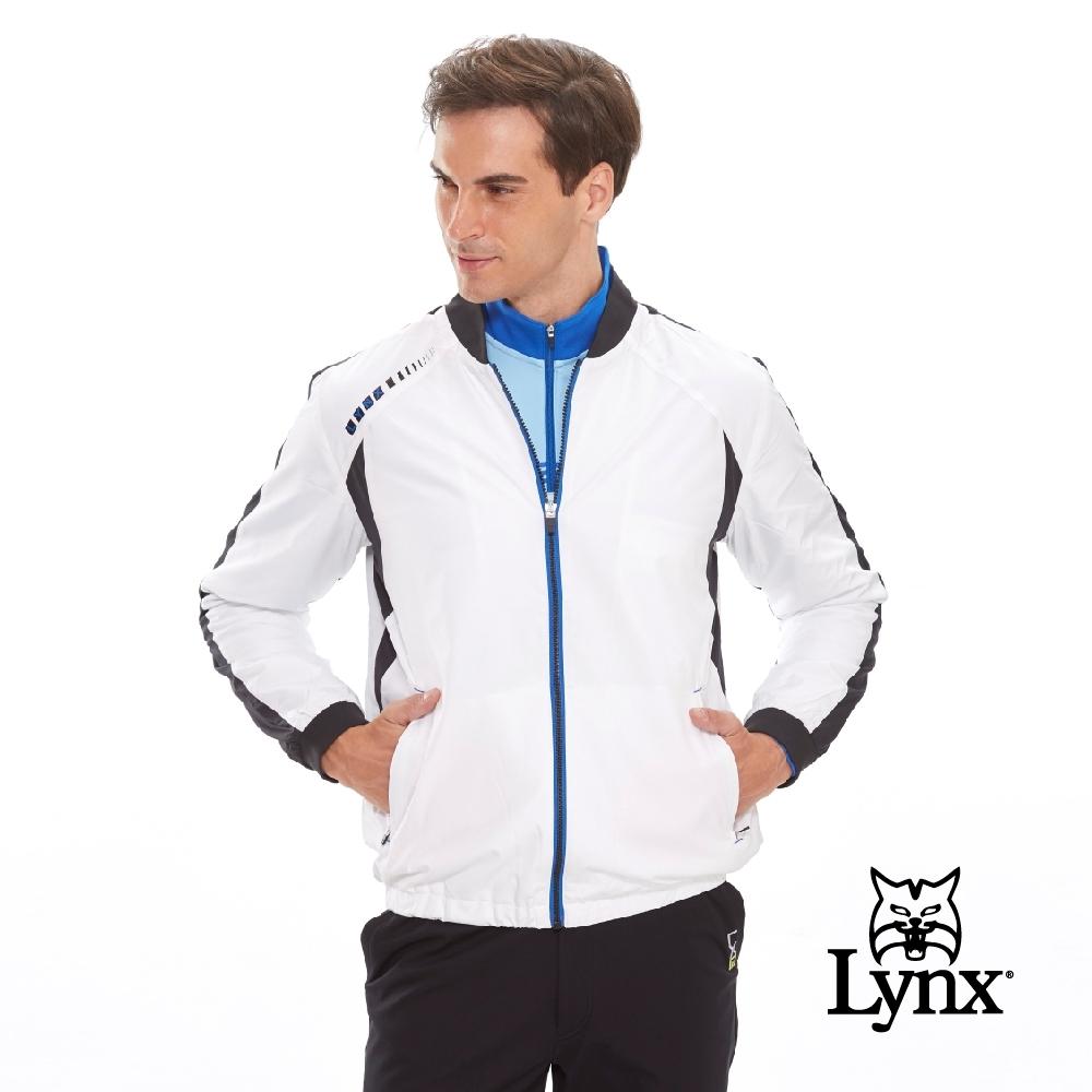 【Lynx Golf】男款吸濕排汗羅紋棒球立領長袖外套-白色