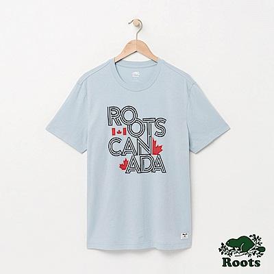 Roots 男裝-拼字短袖T恤-淺藍色