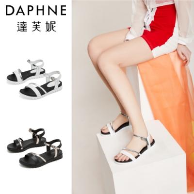 達芙妮DAPHNE 涼鞋-撞色鏤空一字帶休閒涼鞋-共2色