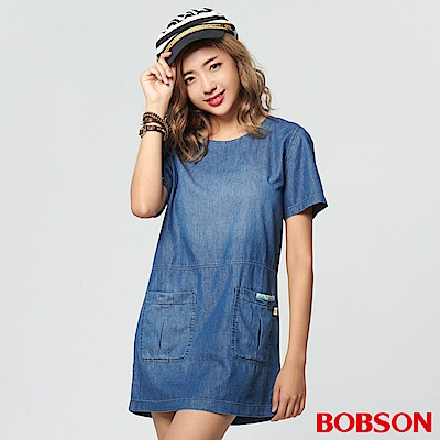 BOBSON 女款雙口袋拼接洋裝