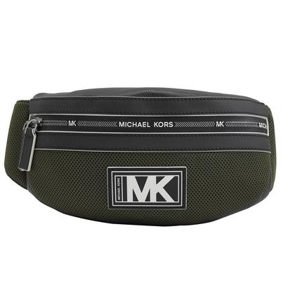 MICHAEL KORS COOPER 透氣材質拼接腰包/胸口包(綠/黑)