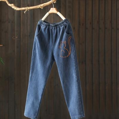 全棉刺繡加絨牛仔褲鬆緊腰寬鬆顯瘦哈倫長褲-設計所在