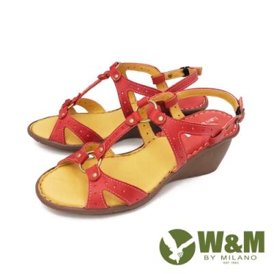 W&M(女) 優雅繞踝坡跟厚底彈力涼鞋 女鞋 -紅 (另有藍)