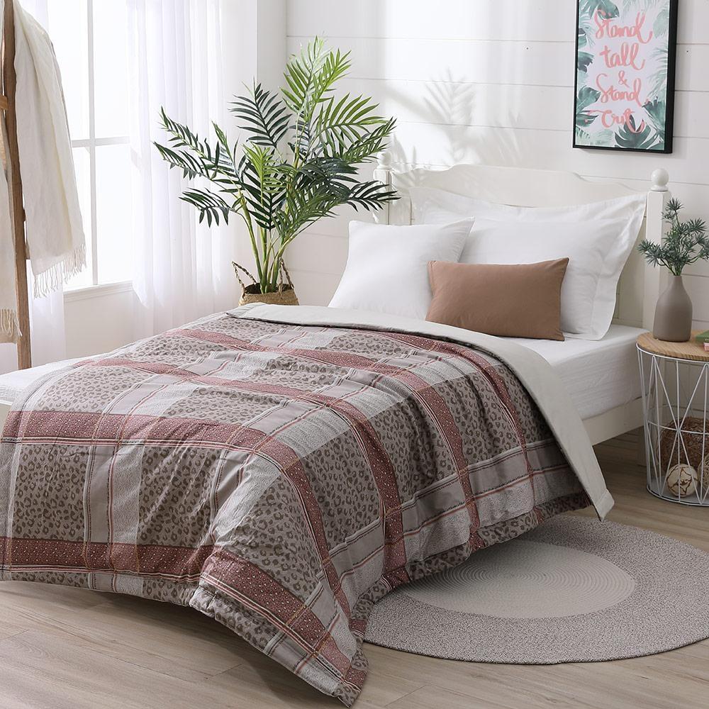 LAMINA 精梳棉涼被4.5X6.5尺-豹紋格子