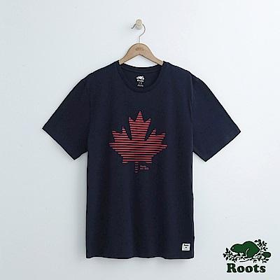 男裝Roots 楓葉短袖T恤-藍
