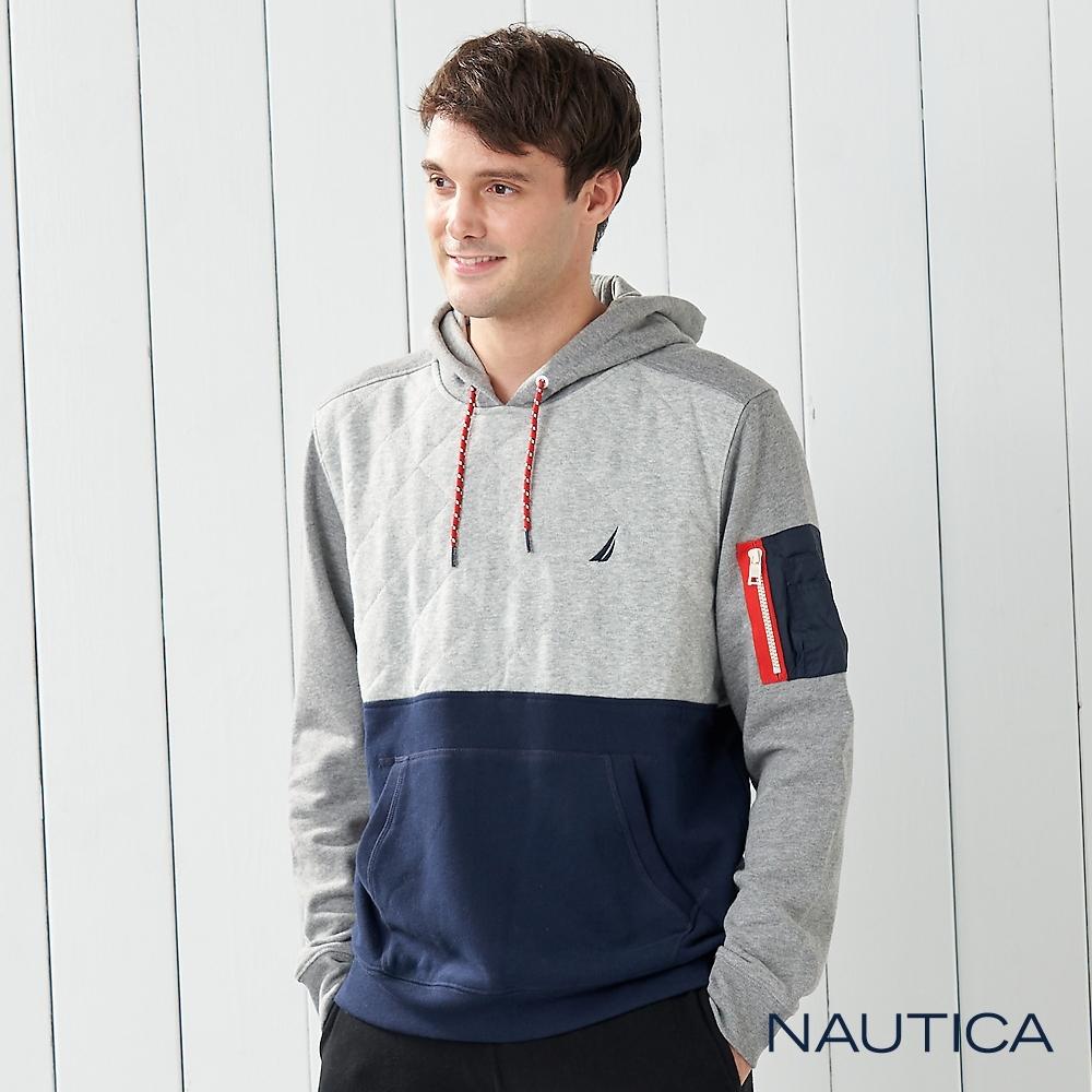 Nautica格菱紋撞色連帽長袖T恤-灰藍色