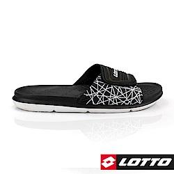 LOTTO 義大利 男 足球風運動拖鞋 (黑)
