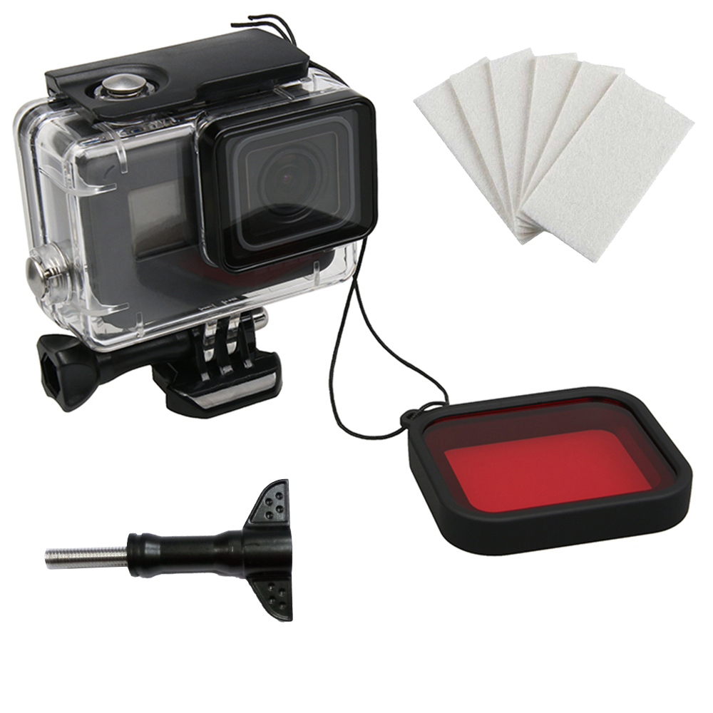 TELESIN GoPro Hero 5 6 7 專用40米防水殼(免拆鏡頭)+紅色濾鏡